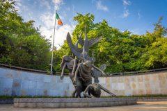 Children-of-Lir-Staue-at-Parnell-Irish-Flag-scaled
